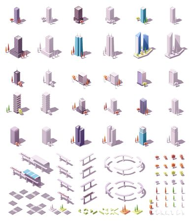 Vector isometric city buildings set Stock Illustratie