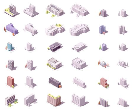 Vector isometric buildings set for isometric city map or infographic. Skyscrapers, offices, houses, apartment buildings