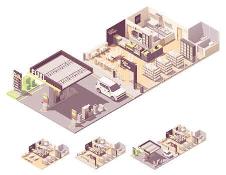 Vector isometric gas station interior Illustration