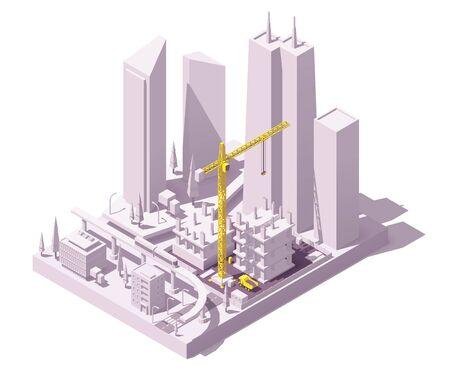 Chantier de construction isométrique de vecteur