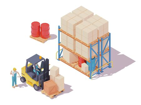 Vector isometric forklift loaded with boxes on pallet, forklift driver and warehouse worker, pallet storage racks, crates and barrels