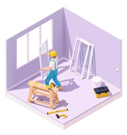 Worker at windows installation