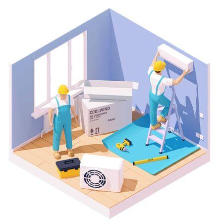 Instalación de aire acondicionado Ilustración de vector