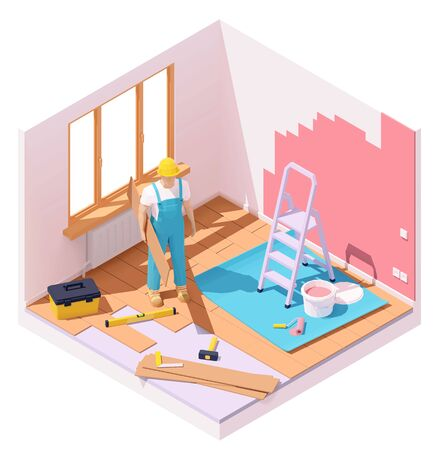 Vector isometric home renovation Imagens - 129949203