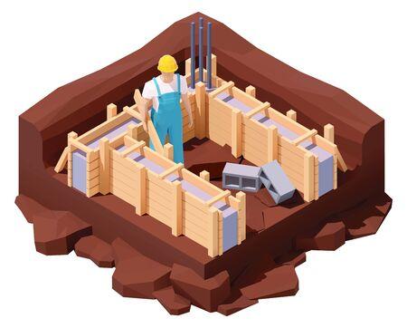 Isometric house foundation works
