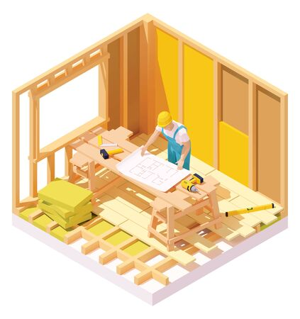 Vector isometric house construction