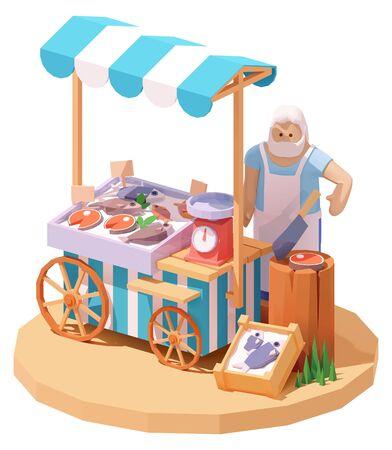 Puesto de mercado de pescados y mariscos de vector Ilustración de vector