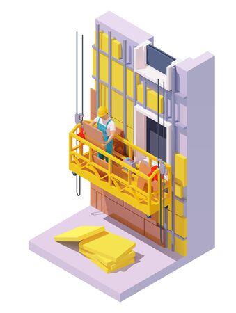 Isometric building facade insulation Stock Vector - 131515751
