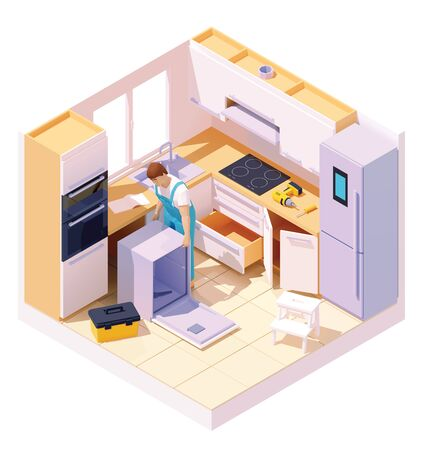 Vector isometric technician repairing dishwasher