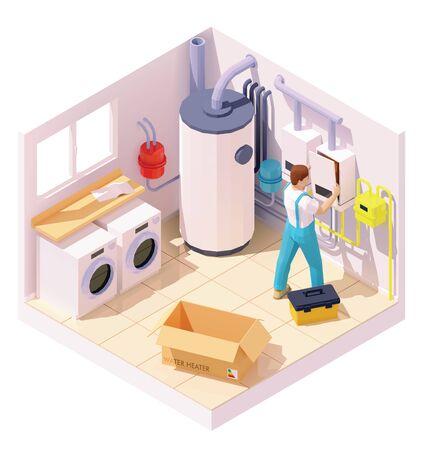 Técnico isométrico en la instalación del calentador de agua. Ilustración de vector