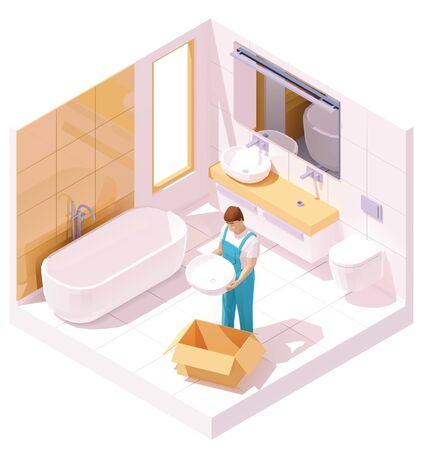 Vector isometric plumber installing sink Illusztráció