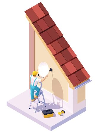 Vector isometric man installing tv satellite dish