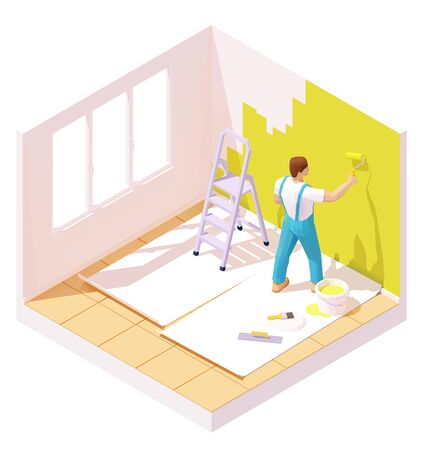 Vector isometric house painter or worker painting room wall using paint roller. Ladder, bucket of bright paint, floor protection covering Stock Vector - 133151686