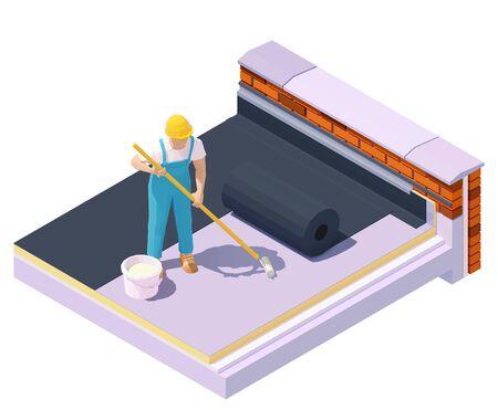 평평한 지붕 방수 및 단열재에서 벡터 아이소메트릭 작업자. 저경사 건물 지붕에 고무 루핑 멤브레인, EPDM 또는 루핑 펠트 설치 벡터 (일러스트)