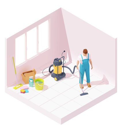 Vector isometric house cleaning after renovation