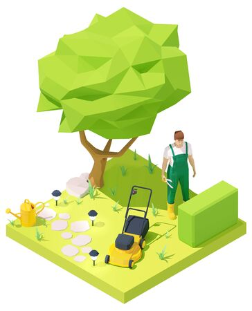 Vector isometric gardener working in garden