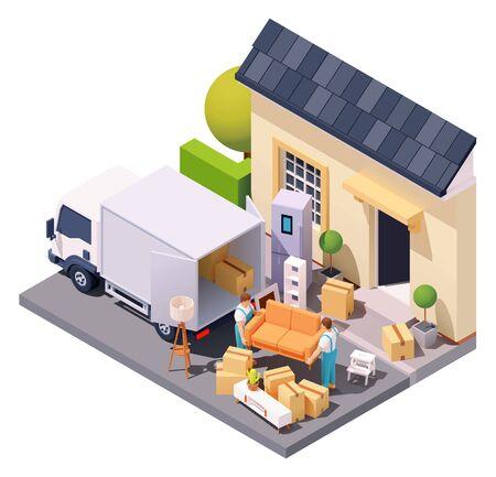 Vector isometric movers at house relocation Illusztráció