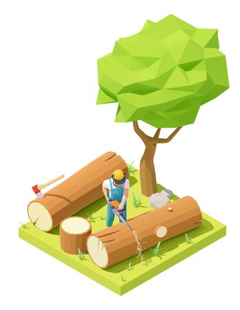 Vector isometric lumberjack cutting tree with chainsaw