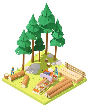 Vector isometric portable sawmill in forest