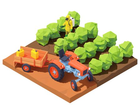Vector isometric farmer spraying pesticides 免版税图像 - 138189327