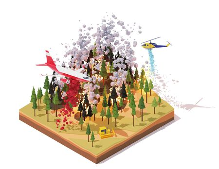 Vector isometric firefighting airplane and helicopter fighting wildfires Ilustração