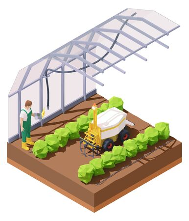 Vector isometric agricultural greenhouse weeding robot