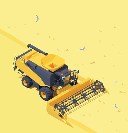 Vector isometric combine harvester in wheat field 免版税图像 - 140288617