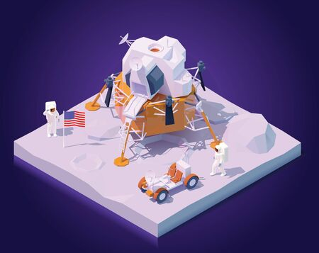 Vector isometric astronauts on Moon mission. Two astronauts walking on Moon surface, Apollo lunar landing module, lunar roving vehicle or rover, flag of the USA Ilustração
