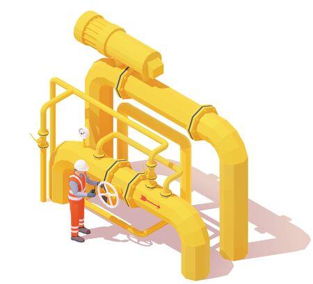 Der Betreiber der vektorisometrischen Gas- oder Ölförderung öffnet das Rohrventil. Gelbe Öl- oder Gasrohre, Manometer, Ventile, Bediener in Arbeitskleidung zum Öffnen oder Schließen des Rohrleitungsventils. Rohrleitungsventil öffnen oder schließen