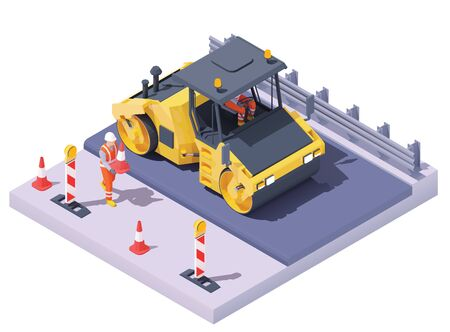 Vector isometric road roller at road construction site. Asphalt paving process, repair and maintenance. Vibration roller and workers building new road, traffic cones and signs