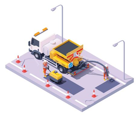 Vector isometric asphalt road potholes spray injection repair process. Potholes patching technology. Worker operating spray injection patching machine, worker with road roller. Repair and maintenance Ilustração
