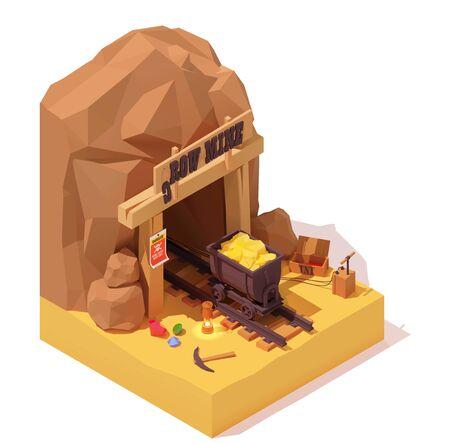 Vieille mine d'or isométrique de vecteur et chariot de mine