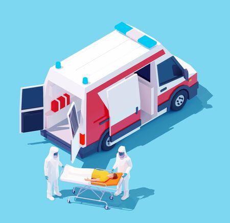Vector isometric hospitalization with coronavirus Vektorgrafik