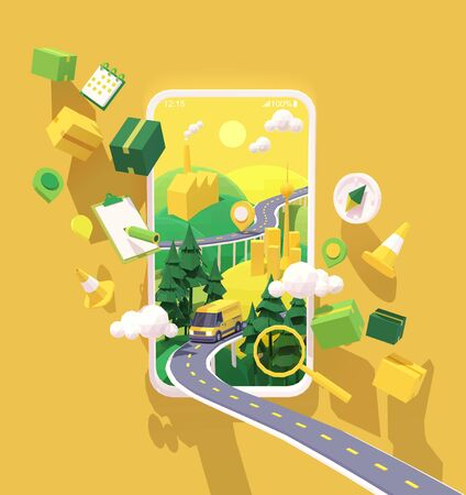 Vector parcel and mail delivery service and tracking app illustration, Smartphone with yellow delivery truck or van on the highway, road from factory to customer home. Supply chain Ilustração