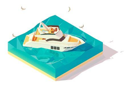 Vector isometric motor yacht 矢量图像