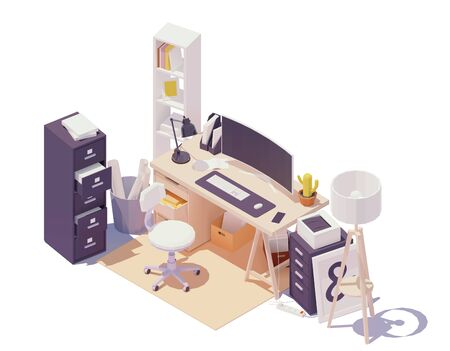 Vector isometric office workplace. Office table and chair, modern wide screen computer monitor, cabinets with drawers, documents and paper, printer, desk lamp Ilustração