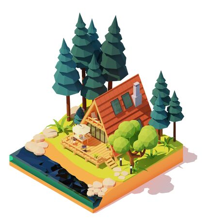 Vector isometric modern a-frame house in the pine wood. Wooden a-frame cabin on the river or lake bank. Outdoor furniture on patio, umbrella, table, chairs, barbeque grill Ilustração
