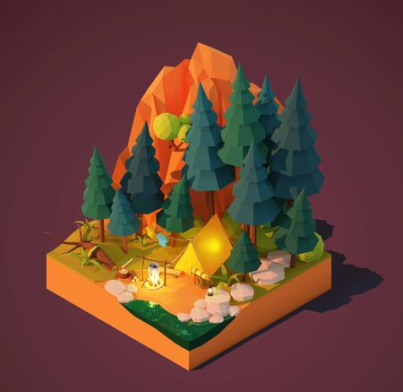 Vector isometric camping in the forest. Campsite near the river or lake, pine trees and mountain. Campfire, tent, backpack and tourist equipment. Tourist cooking food on fire. Camping adventures Ilustração