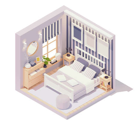 Vector isometric bedroom interior 免版税图像 - 151214100