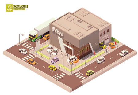 Vector isometric car dealership showroom and service station Ilustração