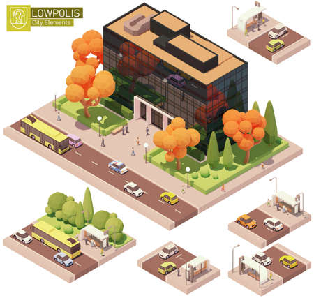 Vector isometric office building and bus stop