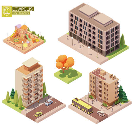 Vector isometric buildings and children playground Ilustração