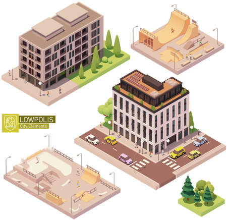 Vector isometric buildings and skatepark