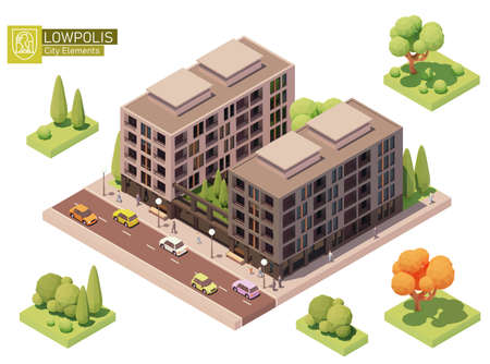 Vector isometric buildings and street elements