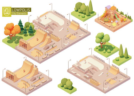 Vector isometric playground and skatepark