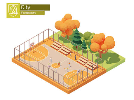 Vector isometric street basketball court. Streetball playground. Basketball players on the outdoor court. Sport field equipped with hoops and benches for spectators. Isometric city map elements