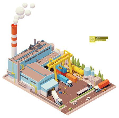 Vector isometric factory building 矢量图像