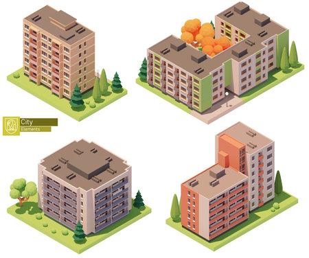 Vector isometric buildings and street elements Zdjęcie Seryjne - 162054321