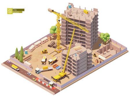 Vector isometric building construction site