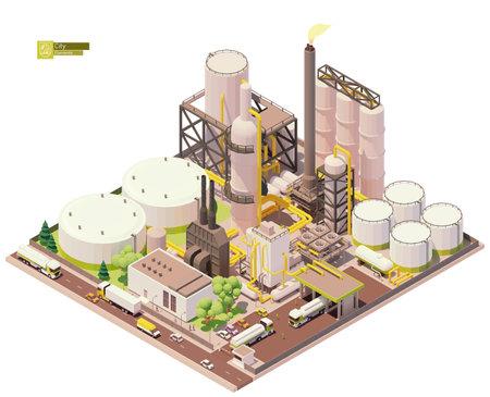 Vector isometric oil refinery plant